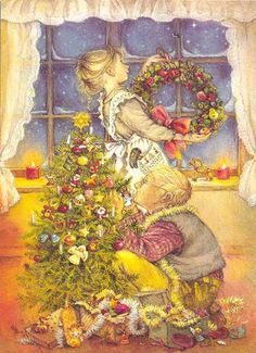 Lisi Martin (1944, Spanish) Decorating the Christmas tree, hanging the Christmas wreath...
