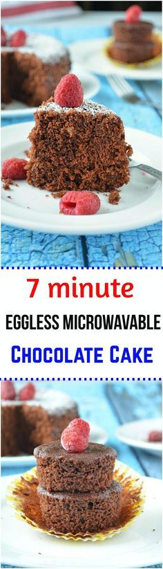 Amazingly delicious Chocolate cake prepared with 7 ingredients and baked for 7 minutes in microwave and to top that- it's EGGLESS. Easy to follow step by step tutorial recipe to a wonderfully dense chocolate cake. I am sure the chocoholics in your family will finish this up in one go. :)