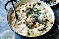 Baked cauliflower risotto with sage and hazelnuts
