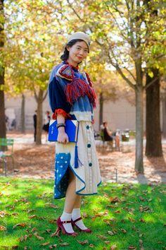 Nancy Zhang, in a fucking amazing Tsumori Chisato skirt.