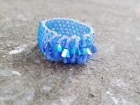 Aquamarine Blue swarovski beaded ring. $2.99 USD  The perfect gift for your best friend ever. Wear this ring every day. Handmade in Mexico. For more info please visit: https://www.kichink.com/buy/702891/chiiica/aquamarine-ring#.VbZlvvmqqko and contact me
