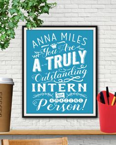 Personalized Outstanding Intern Print, Internship, Intern, Corporate Gifts, Corporate, Office Decor, Office Sign, Office Art, Office Gifts by StarPrintShop on Etsy