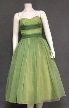 Vintageous, LLC - Amazing Green Ombre Chiffon 1950's Prom Dress, $255.00 (http://www.vintageous.com/amazing-green-ombre-chiffon-1950s-prom-dress/)