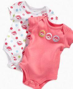 Baby Starters Baby Bodysuits, Baby Girls Sock Monkey Bodysuit 2 Pack