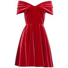 Emilio De La Morena Off-the-shoulder velvet mini dress ($904) ❤ liked on Polyvore featuring dresses, short dresses, vestidos, red, vintage party dress, red mini dress, red velvet dress and red party dresses