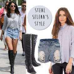 Steal Selena Gomez's city chic style for under £24! Teaming calf high boots with shorts is a great way to make the transition into AW14 x  http://hiddenfashion.com/shoes/boots/faux-leather-black-tan-gold-trim-calf-high-boots.html http://hiddenfashion.com/mid-rise-distressed-frayed-ripped-denim-shorts.html http://hiddenfashion.com/batwing-sleeve-dipped-hem-collared-shirts.html #fashion #trend #stylesteal #celebrity #selenagomez #style #inspiration #styleoftheday #aw14 #look #ootd…