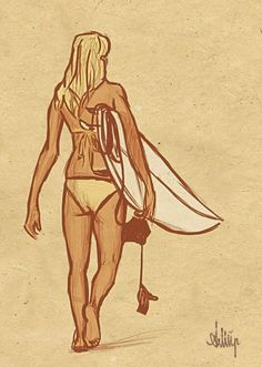 Surfing holidays is a surfing vlog with instructional surf videos, fails and big waves Surfer Boys, Soul Surfer, Surf Drawing, Beachy Girl, Drawings Pinterest, Surfer Girl Style, Girl Sketch, Surf Art, Surf Girls