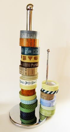 Washi tape storage idea - use a toilet roll holder.