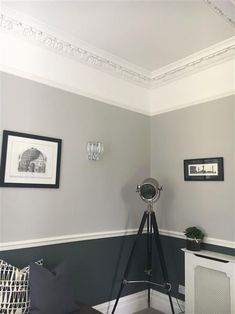 An inspirational image from Farrow and Ball - grey living room All white, cornforth white, down pipe Cornforth White Living Room, Living Room White, Living Room Grey, Living Room Decor, Cornforth White Kitchen, Cornforth White Hallway, Cornforth White Farrow And Ball, Living Area, Hallway Colours