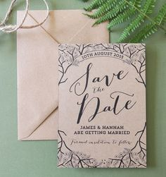 enchanted forest kraft save the date by project pretty | notonthehighstreet.com