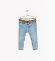 ZARA - COLLECTION AW14 - DENIM CHINO TROUSERS WITH BELT