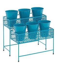Look at this Blue Two-Tier Plant Stand on #zulily today!