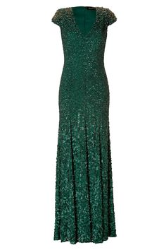 Jenny Packham Silk Sequined Gown in Matador in Green (emerald)