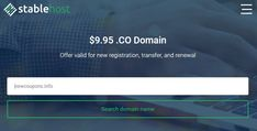 StableHost - $9.95 .CO Transfers - Lowest Market Price - No Limit.  #stablehost #domain #coupon #deal #transfer Market Price, Coupons, Marketing, Coupon