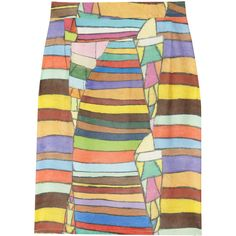 Clements Ribeiro Candy printed silk-satin pencil skirt ($215) ❤ liked on Polyvore
