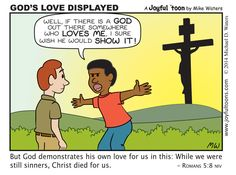 Joyful 'toons — God showed His love to us all by giving His son...