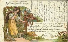 An Art Nouveau postcard of Snow White and the wicked queen, who disguised as a pedlar is coaxing our heroine to take a poisoned comb.  Published in Vienna, circa 1899.