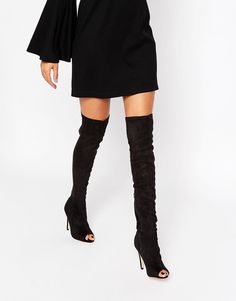 Truffle Collection Helen Peeptoe Heeled Over The Knee Boots