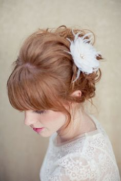 """I love this 1960's updo... I bet Ms. CB could do this BEAUTIFULLY! (The Listing is perfection, but I'm """"pinning"""" the hair.)    Bridal Hair Flower Feather Fascinator Vintage Inspired by LoBoheme, $128.00"""