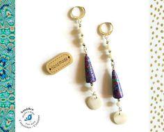 Boucles d'Oreilles Nacres Perles en papier artisanales