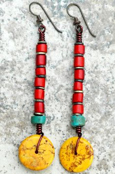 Tibetan-Inspired Turquoise, Red Glass and Yellow Disc Dangle Earrings - - Tibetan-Inspired Turquoise, Red Glass and Yellow Disc Dangle Earrings Aretes Funky Earrings, Tribal Earrings, Wire Earrings, Wire Jewelry, Earrings Handmade, Jewelry Crafts, Beaded Jewelry, Handmade Jewelry, Jewellery
