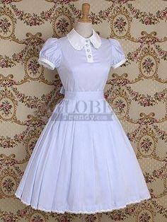 Light blue Short Sleeves Cotton Lolita Dress (Lolita146-2)01