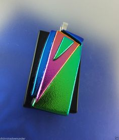 LIME, PINK & BLUE ON BLACK -Tac Fired - Handmade Dichroic Glass Pendant + Cord * by Cheryl Smith