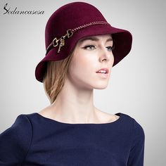 b813be5ebd3 Noble Decoration Fedora Hat 100% Wool From Australian Cloche fedora hat for  woman Larger Brim Headwear Formal Felt Hat FW010137