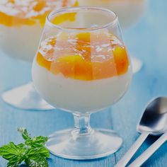 These four individual cheesecakes are served in whiskey glasses and topped with a fruity mixture of mango, passion fruit and gooseberries. Try our recipe.