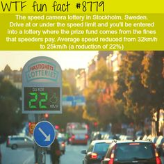 The speed cameras lottery - WTF fun facts Maybe we should do that here in the USA. The More You Know, Good To Know, Did You Know, Wtf Fun Facts, Funny Facts, Strange Facts, Random Facts, Interesting Information, Interesting Facts