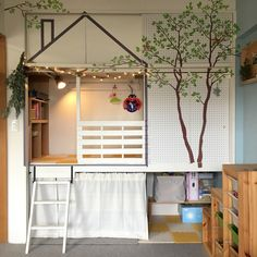 イメージは森の中の「秘密基地」☆押し入れを改造したキッズスペース by takaさん Diy Home Decor, Diy Bedroom Decor, Kids Play Spaces, Home And Deco, Dream Rooms, Kid Beds, Home Renovation, My Room, Kids Bedroom