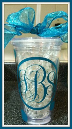 Personalized Cup with Straw, $14.00, via Etsy.