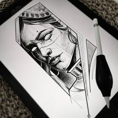 Blackwork, Sketch Style Tattoos, Woman Face, Stencils, Inspiration, Portrait, Drawings, Instagram, Tattoo Ideas