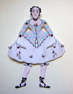Miniature Harlequin and Colombine Jointed Paper Doll Kits, Set.