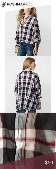 NWOT Ralph Lauren denim supply plaid button up NWOT - only tried this item on once. absolutely no signs of wear in any sense. removed the tags upon purchase because i thought i'd love it. bummer for me.  size XS - in my opinion this fits like a size medium - this is very loose fit. Dolman sleeve Cropped Plaid Shirt.  paid $89 new, never worn so please be kind when making an offer. Ralph Lauren Tops Button Down Shirts