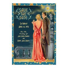 """Vintage 1930s Save The Date Cards in """"Blonde"""" with Custom Color. Other hair colors available"""