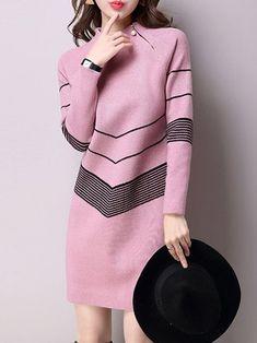 Stand Collar Long Sleeve Midi Dress
