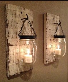 mason Jars with candles hanging on old/distressed wood - DIY Home Decorating