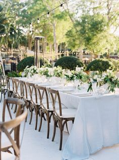 French Country chairs at the outdoor waterfront reception in Winter Park Florida Wedding Flower Arrangements, Wedding Centerpieces, Wedding Flowers, Wedding Decorations, Park Party Decorations, Wedding Dresses, Wedding Bouquets, Wedding Tips, Wedding Table
