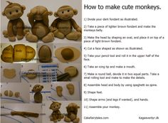 how to make cute monkey from fondant Fondant Toppers, Fondant Cakes, Cupcake Cakes, Cupcakes, Cake Decorating Tutorials, Cookie Decorating, Decorating Ideas, Fondant Monkey, Monkey Cakes