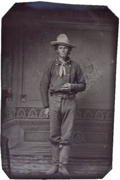 A tintype of an unidentified man dressed in the style of the Old West