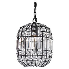 Bring a glamorous touch to your entryway or master suite with this eye-catching mini pendant, showcasing a metal cage frame and crystal accents....