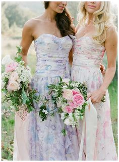 Floral bridesmaid dresses by PPS Couture by Plum Pretty Sugar. Image by Jose Villa.