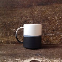 Otti home loves this handmade Danish Color-blocked mug in matte black + glossy white. Paper and Clay Studio Pottery Mugs, Ceramic Pottery, Ceramic Cups, Ceramic Art, Mug Design, Clay Studio, Pottery Designs, Ceramic Design, Stoneware