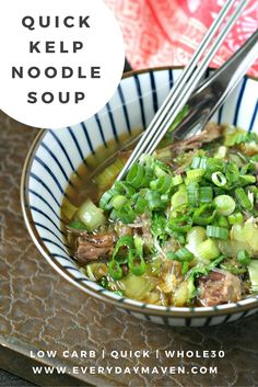 Quick Low Carb, Whole30, Paleo and Keto Kelp Noodle Soup – it's so fast and easy to make, that there's no excuse to not give it a try! Full of nourishing real food ingredients. (Sushi Ingredients Seaweed)