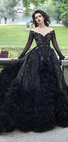 Black Scoop Neckline Long Sleeve V-Neck With Appliques Prom Dresses, VB0322