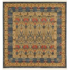 World Menagerie Fonciere Brown/Blue Area Rug Rug Size: Square 8'