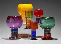 A set of six Kaj Franck glass goblets, Nuutajärvi/Notsjö Art Deco Design, Glass Design, Colored Glass Vases, Glass Molds, Mid Century Modern Art, Drinking Glass, Carnival Glass, Art Nouveau, Scandinavian Design
