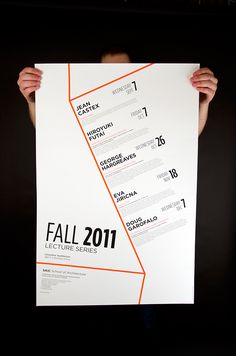 "This is a 20"" x 30"" poster for an architecture lecture series. My design relies primarily on typography and is based on a grid created by the simple representation of the angles of an architectural structure."