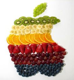 Edible Apple Logo Reminds Me of the (Fruit) Salad Days L'art Du Fruit, Deco Fruit, Fruit Art, Fresh Fruit, Fruit Salad, Fruit Plate, Fruit Snacks, Fun Fruit, Fruit Trays
